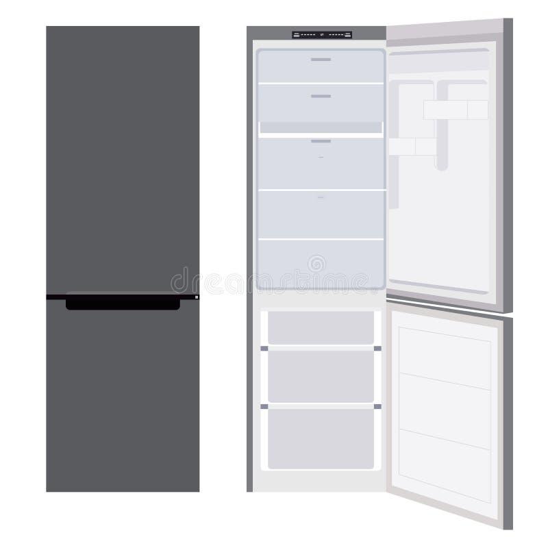 Refrigerador abierto y cerrado stock de ilustración