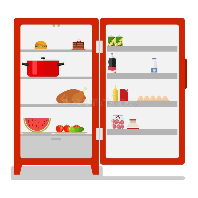 Refrigerador al aire libre con la comida stock de ilustración