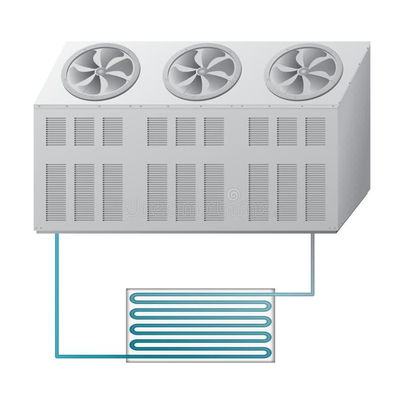 Refrigerador al aire libre e interior de la unidad Sistema de condicionamiento ilustración del vector
