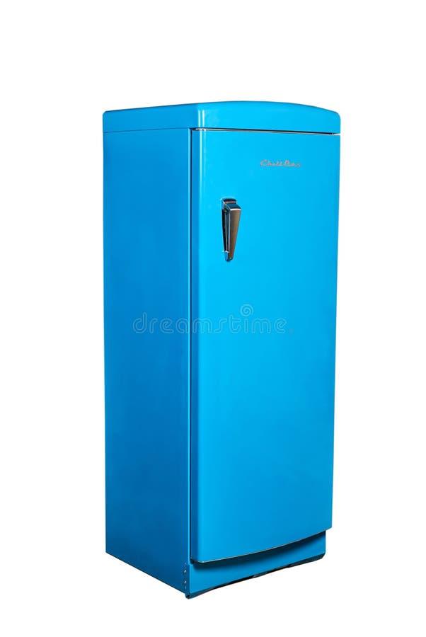 Refrigerador azul do projeto do vintage - caixa do frio fotografia de stock royalty free
