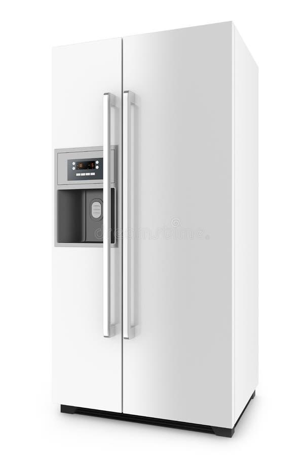 Refrigerador blanco con de lado a lado el sistema de la puerta ilustración del vector