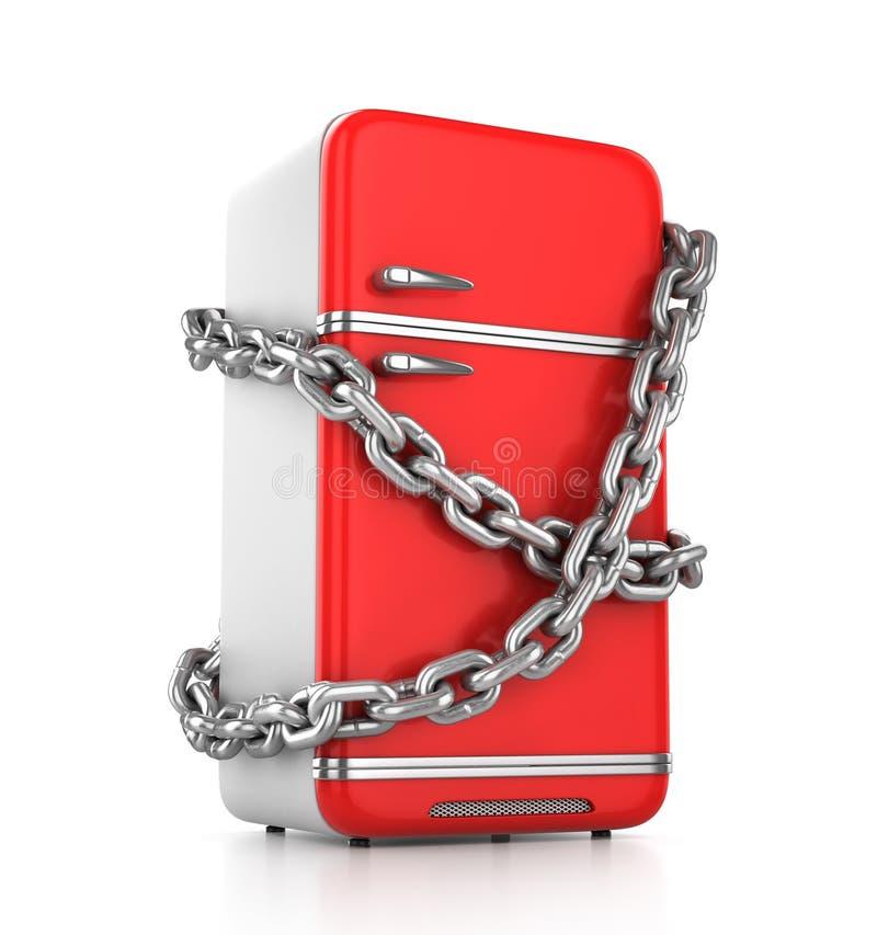 Refrigerador cerrado del rojo del vintage ilustración del vector