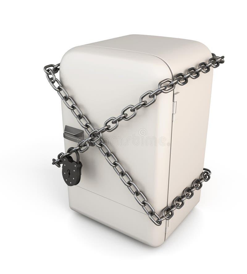 Refrigerador cerrado del vintage con la cadena y cerradura - adiete el concepto ilustración del vector