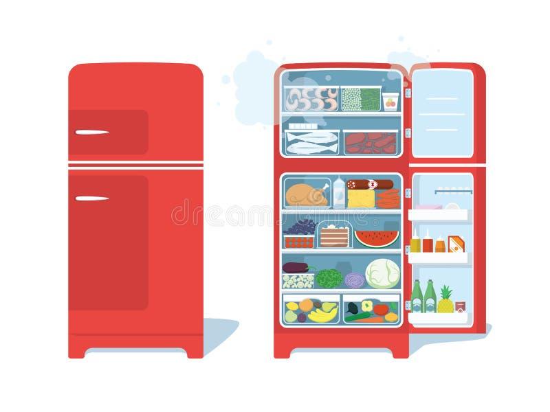 Refrigerador cerrado del vintage y abierto rojo por completo de la comida stock de ilustración