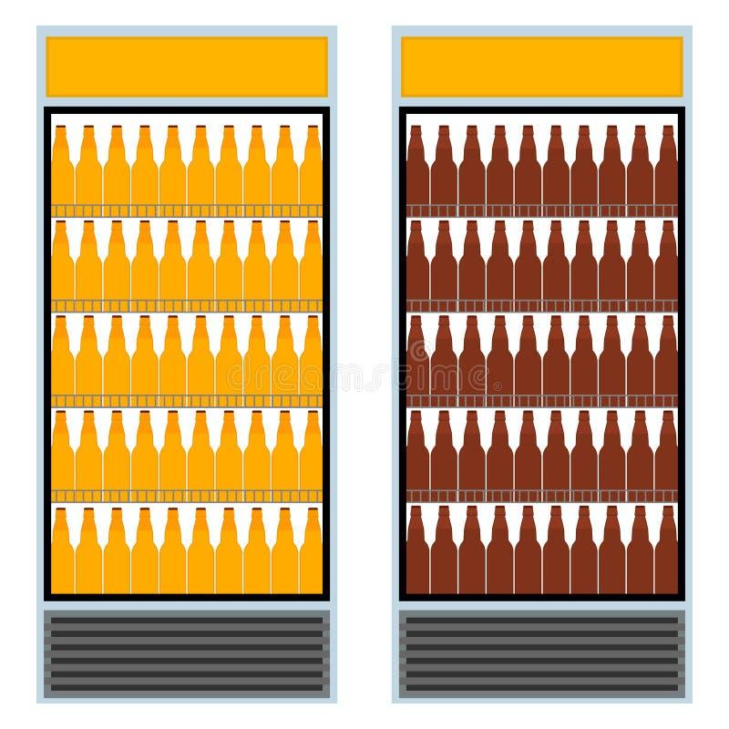 Refrigerador com as garrafas da cerveja ?cone gr?fico isolado da ilustra??o do vetor no estilo liso ilustração do vetor