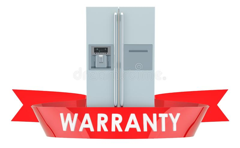 Refrigerador com de lado a lado conceito da garantia do sistema da porta rendição 3d ilustração stock
