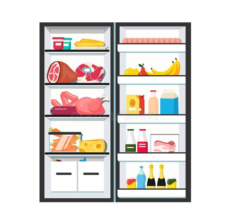 Refrigerador com estar aberto completamente ilustração stock