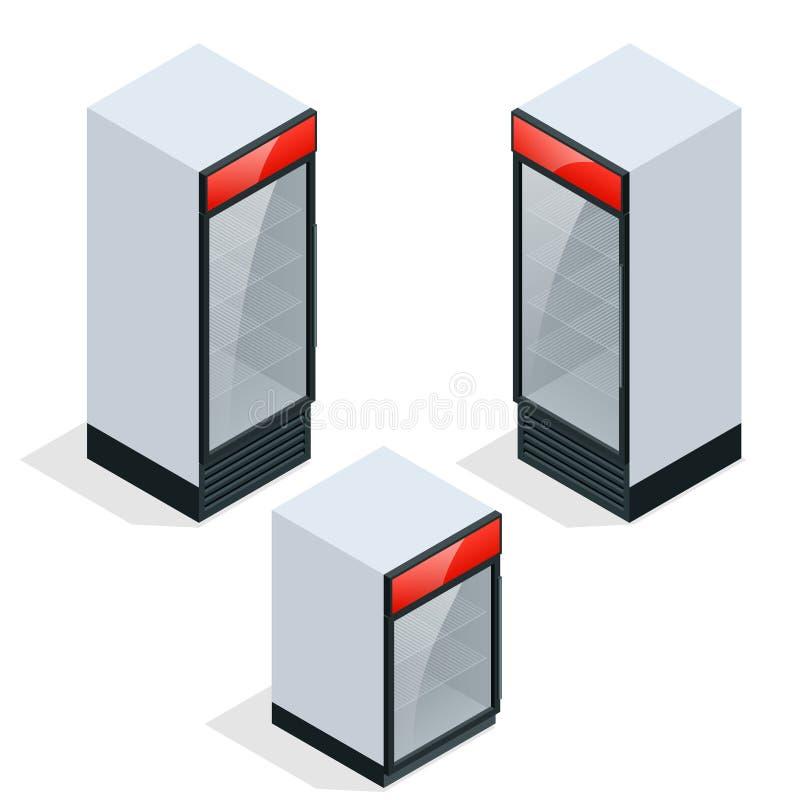Refrigerador comercial para salvar bebidas y el perishables ilustración del vector