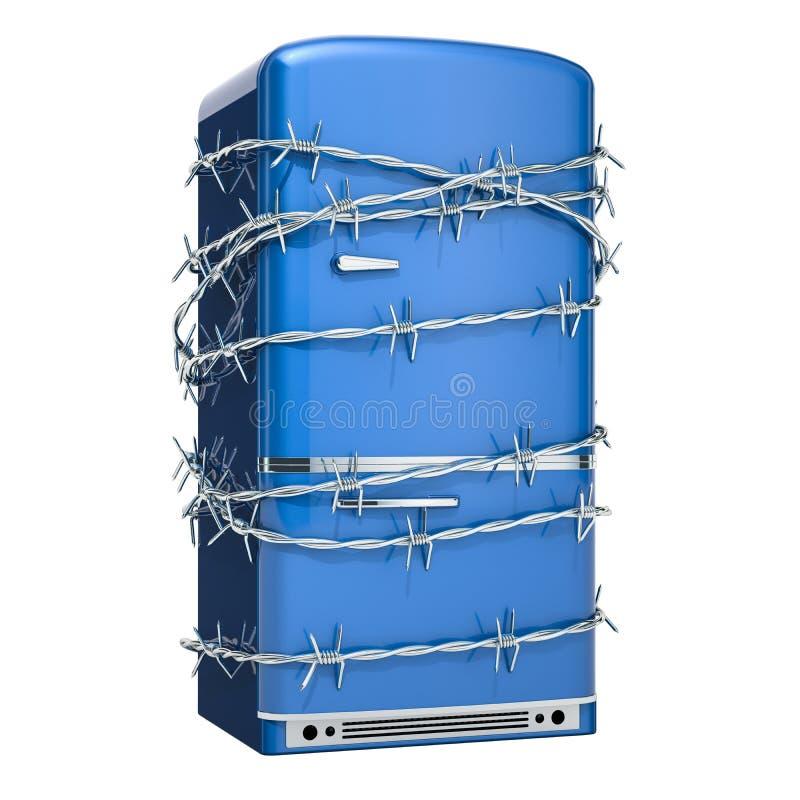 Refrigerador con el alambre de púas, concepto de la dieta representación 3d ilustración del vector