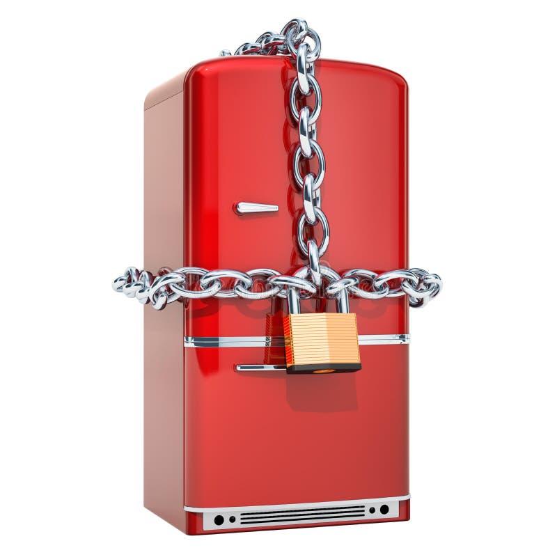 Refrigerador con la cadena y el candado, concepto de la dieta representación 3d libre illustration