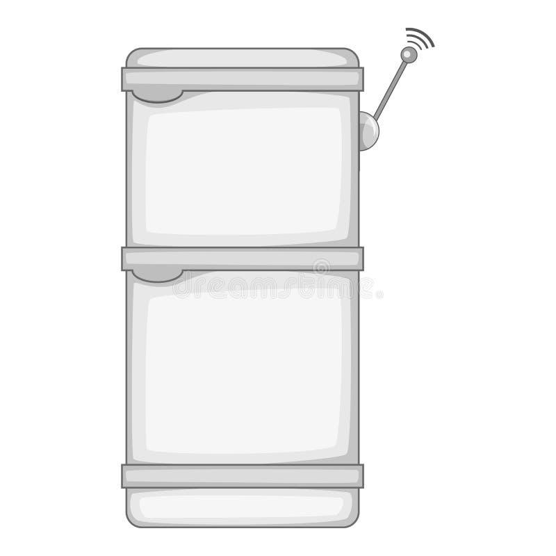 Refrigerador con monocromo del icono de la conexión de los wi fi ilustración del vector