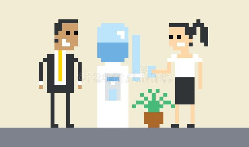 Refrigerador de água de Art Image Of Businesspeople By do pixel no escritório ilustração do vetor