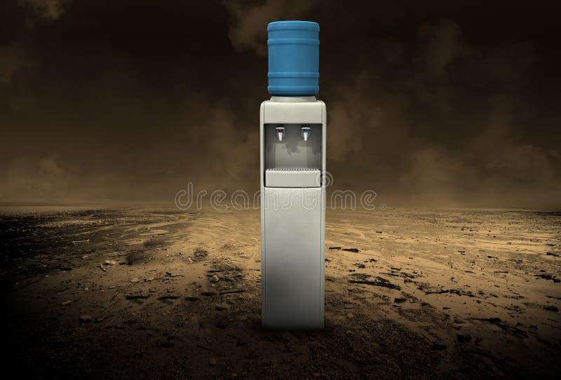 Refrigerador de água surreal, deserto desolado imagens de stock