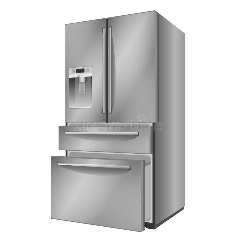 Refrigerador de acero moderno abierto Ilustración del vector en el fondo blanco ilustración del vector