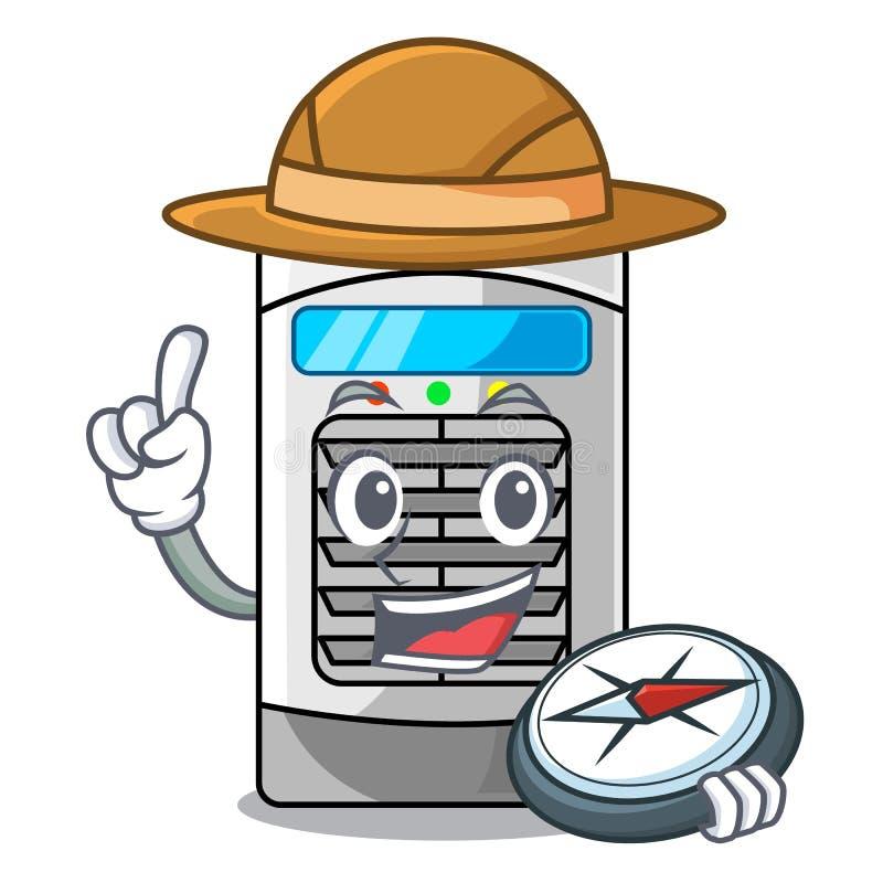 Refrigerador de ar do explorador isolado com os desenhos animados ilustração do vetor