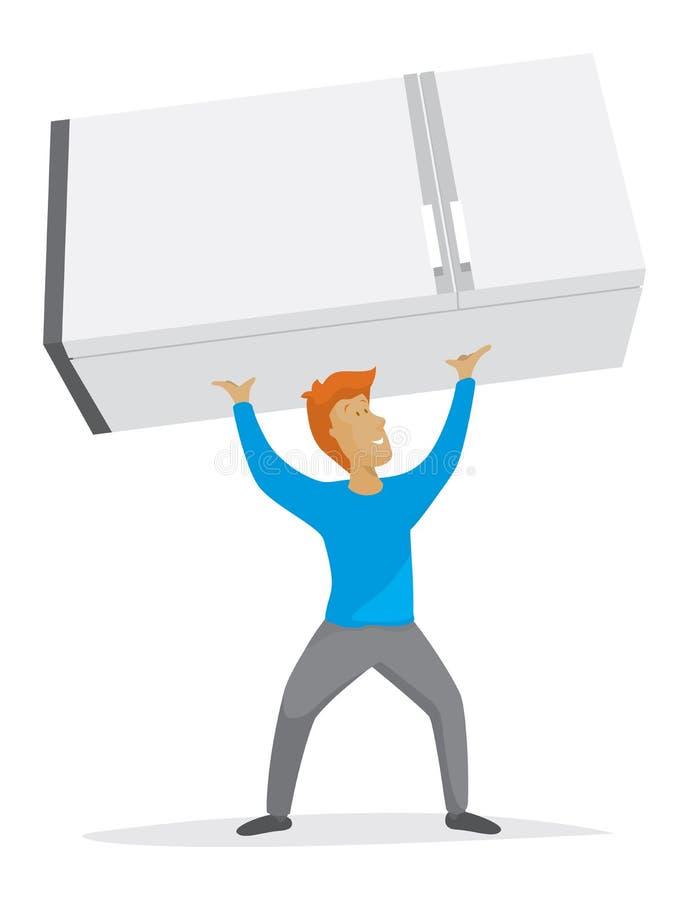Refrigerador de elevación del hombre fuerte sobre su cabeza stock de ilustración