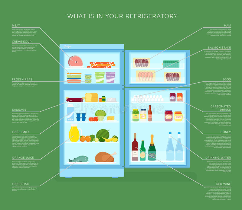 Refrigerador de Infographic con los iconos de la comida planos stock de ilustración