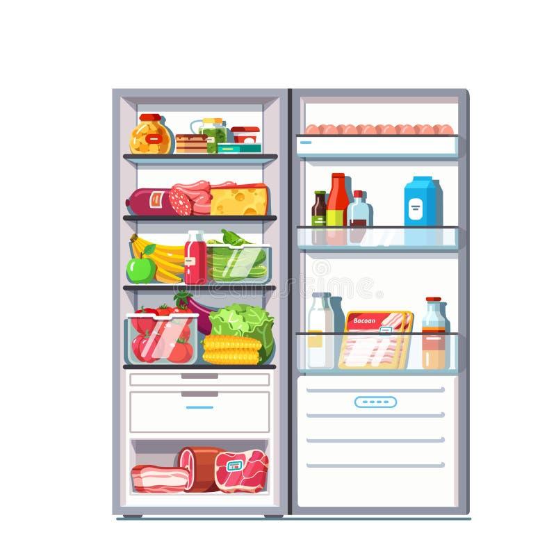 Refrigerador de la puerta abierta por completo de las verduras, frutas ilustración del vector