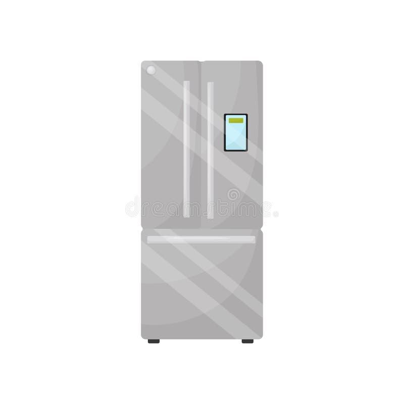Refrigerador de prata moderno com congelador Vetor liso para anunciar o cartaz ou a bandeira da loja do aparelho eletrodoméstico ilustração stock