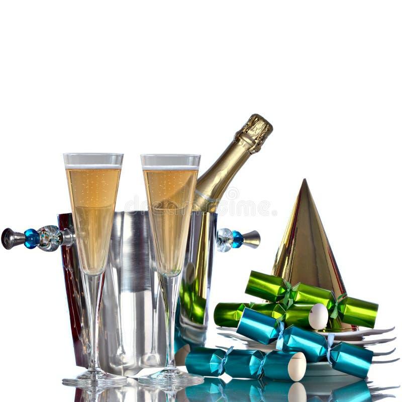 Refrigerador de vino de plata festivo de Champán de la celebración de días festivos imagen de archivo libre de regalías