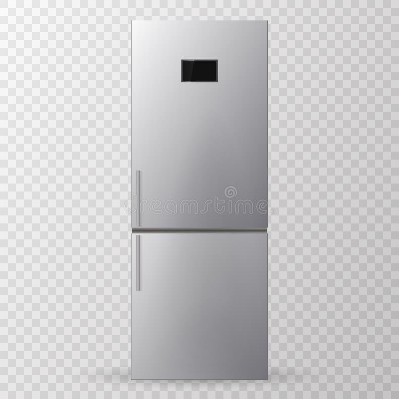 Refrigerador del acero inoxidable refrigerador stock de ilustración