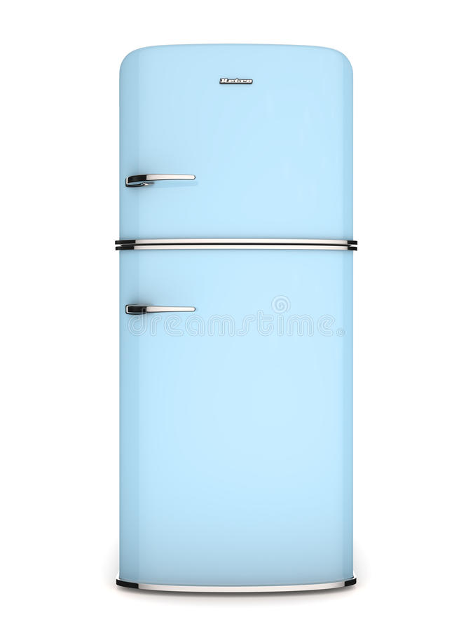 Refrigerador del azul de la vendimia. Vista delantera ilustración del vector