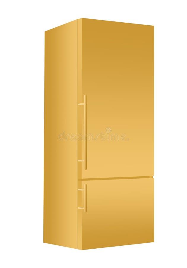 Refrigerador del oro con el congelador en el fondo blanco Refrigerador moderno 3d con la puerta Aparato eléctrico casero de la co libre illustration