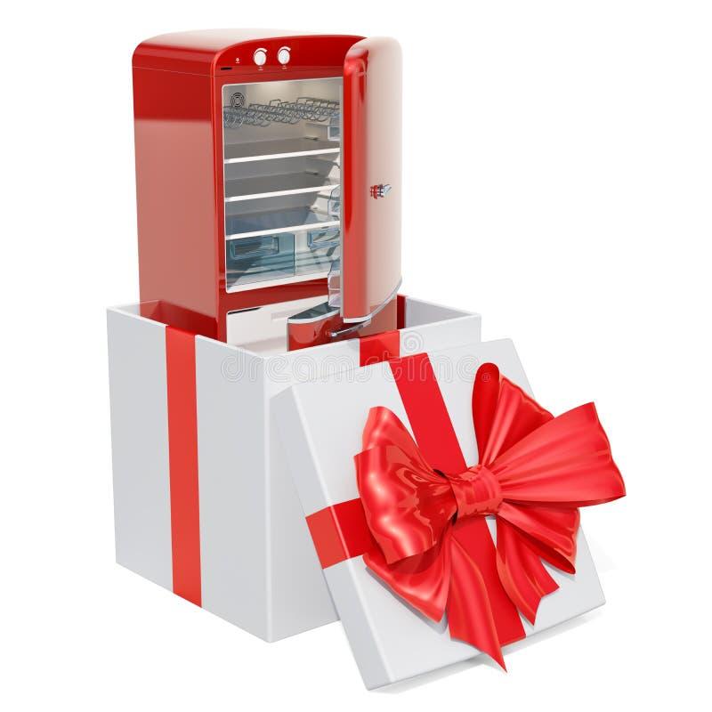 Refrigerador dentro de la caja de regalo, concepto del regalo representación 3d stock de ilustración