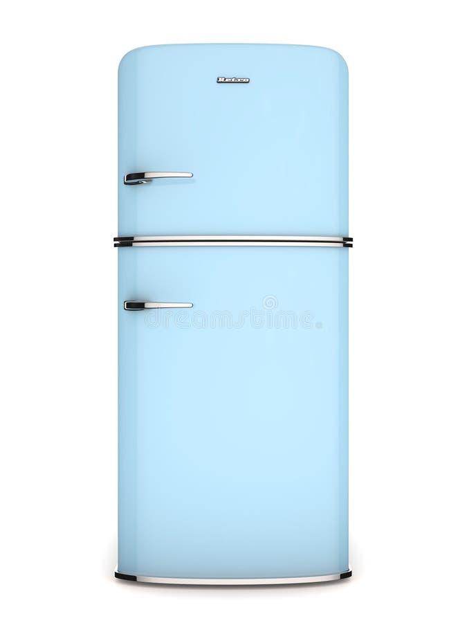 Refrigerador do azul do vintage. Vista dianteira ilustração do vetor