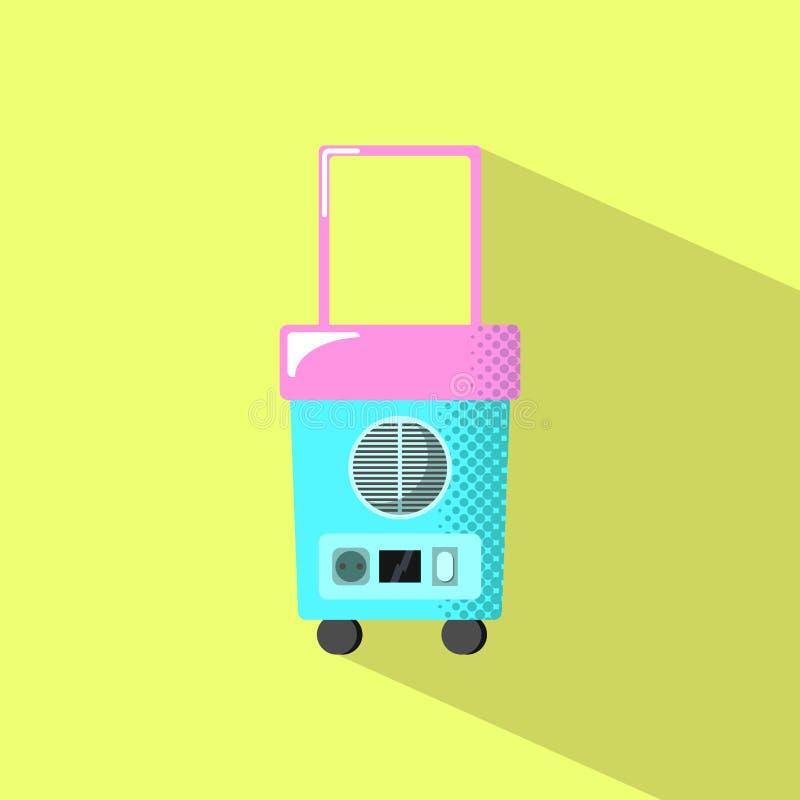 Refrigerador do curso com sombra Ilustração lisa do estilo do equipamento bonde das férias de verão ilustração royalty free