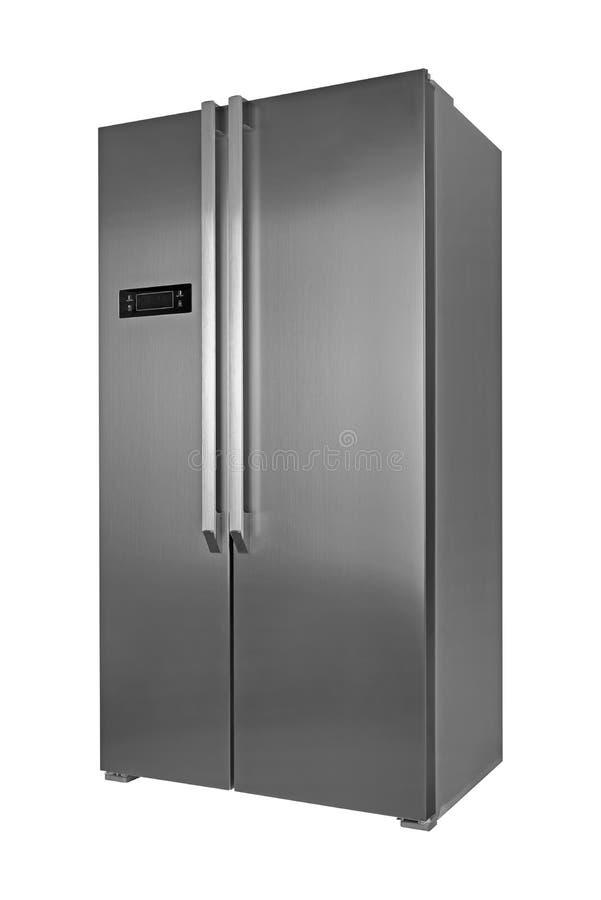 Refrigerador do metal isolado no fundo branco foto de stock royalty free