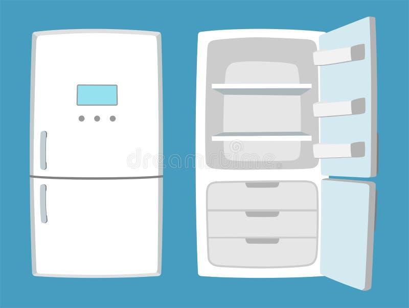 Refrigerador en estilo de la historieta Refrigerador abierto y cerrado stock de ilustración