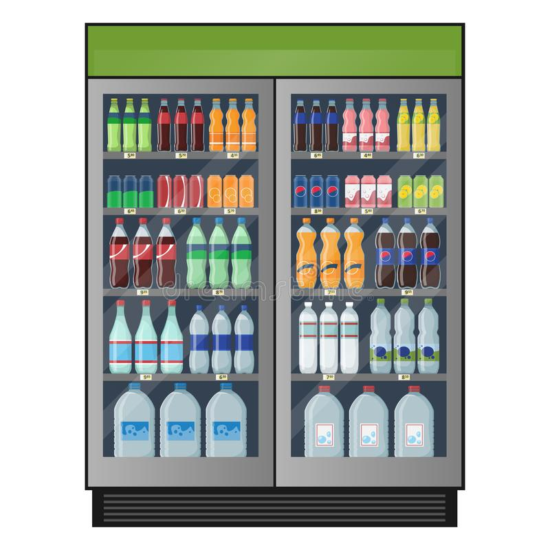 Refrigerador industrial com bebidas carbonatadas e água isolada no fundo branco ilustração do vetor