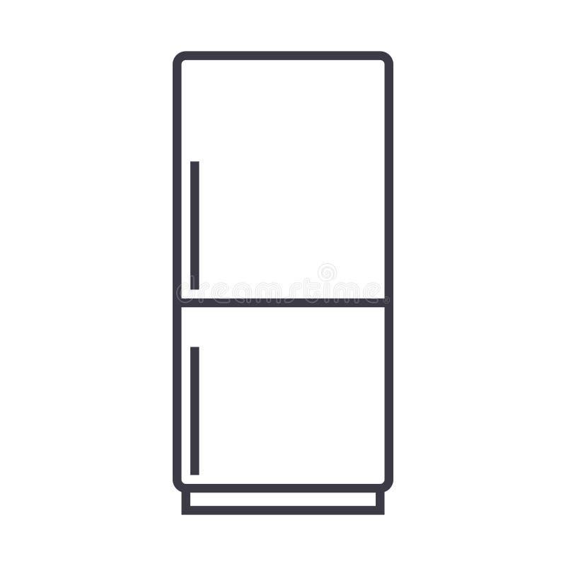 Refrigerador, línea icono, muestra, ejemplo del vector del refridgirator en el fondo, movimientos editable ilustración del vector