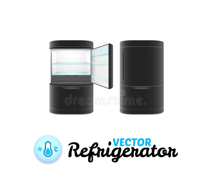 Refrigerador moderno aislado en el fondo blanco libre illustration