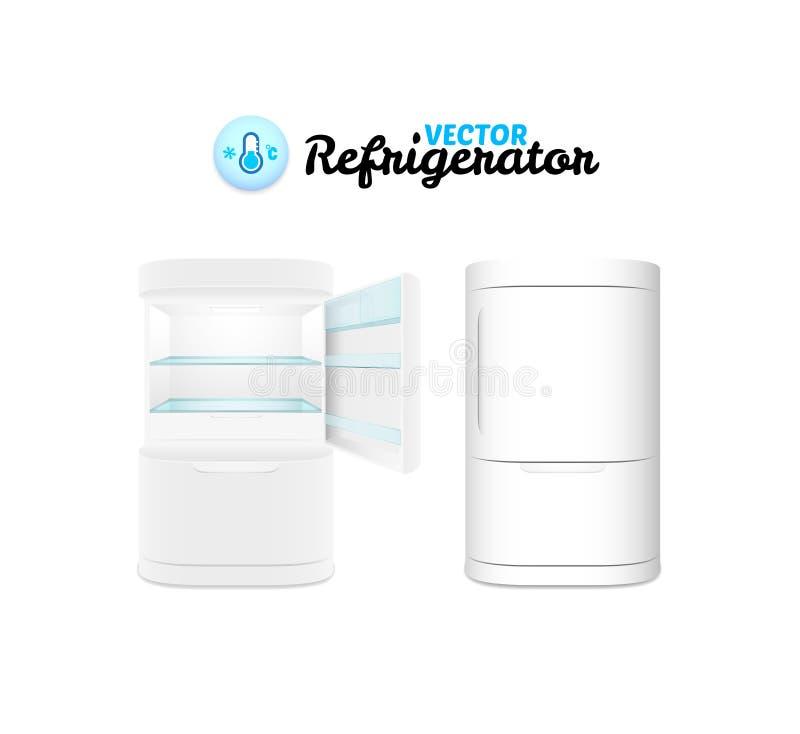Refrigerador moderno aislado en el fondo blanco ilustración del vector