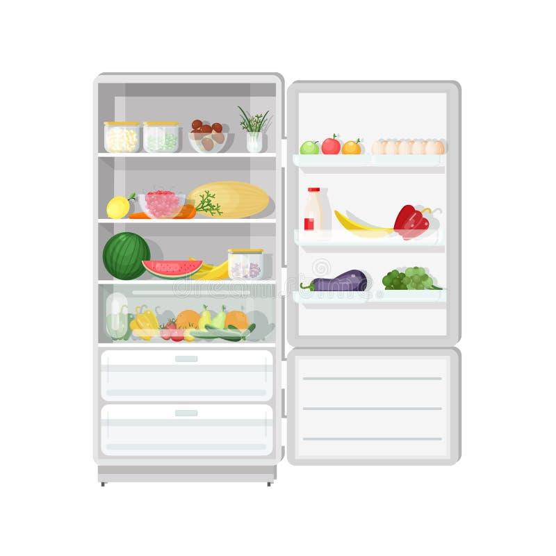 Refrigerador moderno com porta aberta completamente do vário alimento saudável do vegetariano - frutas e legumes frescas, dietéti ilustração do vetor