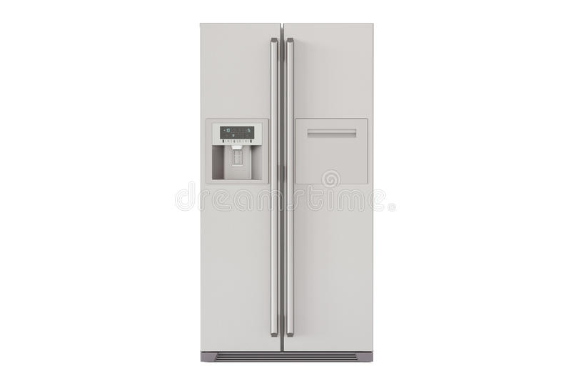 Refrigerador moderno con de lado a lado el sistema de la puerta, representación 3D ilustración del vector