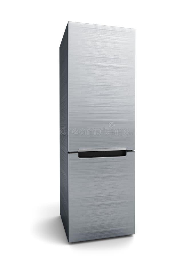 Refrigerador moderno del acero inoxidable ilustración del vector