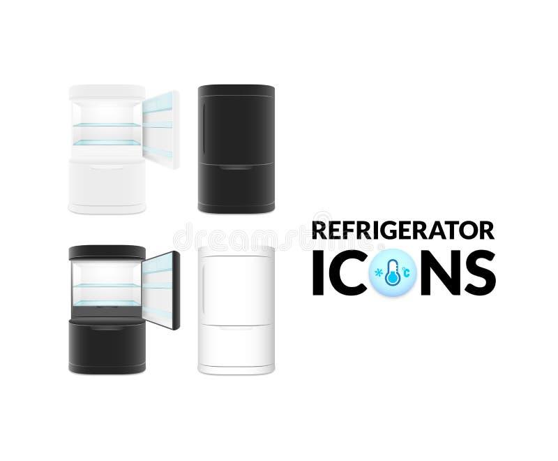 Refrigerador moderno en el fondo blanco ilustración del vector