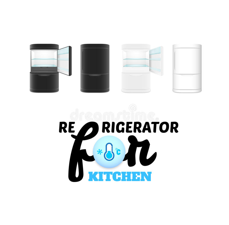 Refrigerador moderno en el fondo blanco libre illustration