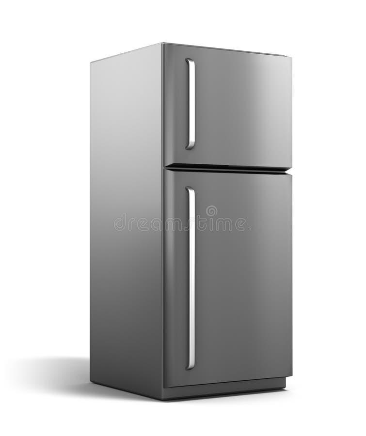 Refrigerador moderno isolado no branco ilustração royalty free