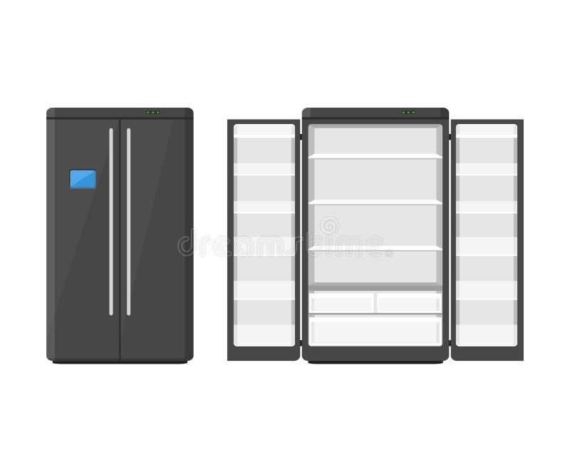Refrigerador moderno negro de los aparatos electrodomésticos con dos puertas aisladas en el fondo blanco Refrigerador del disposi stock de ilustración