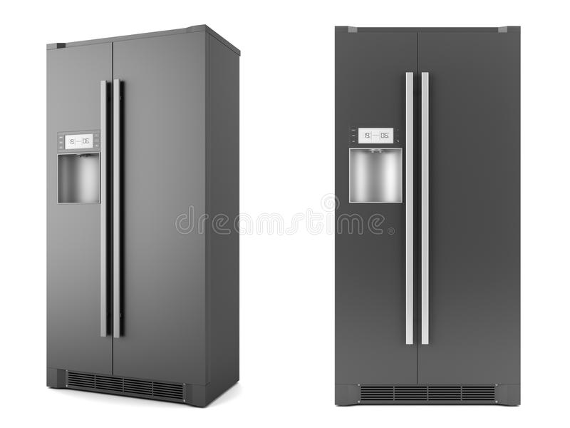 Refrigerador negro moderno aislado en blanco stock de ilustración