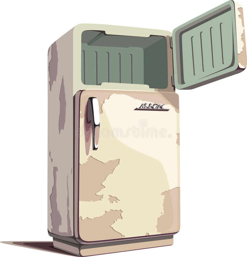 Refrigerador oxidado velho ilustração stock