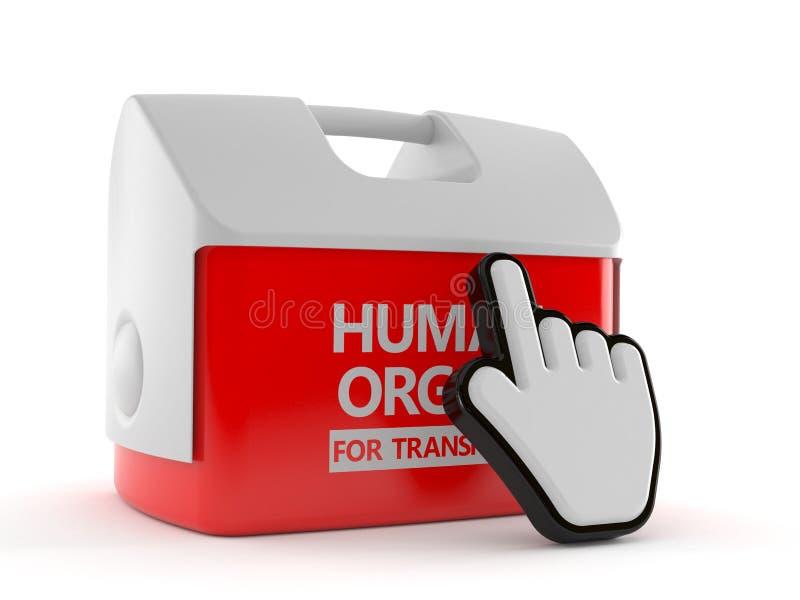 Refrigerador para el órgano humano con el cursor de la web ilustración del vector