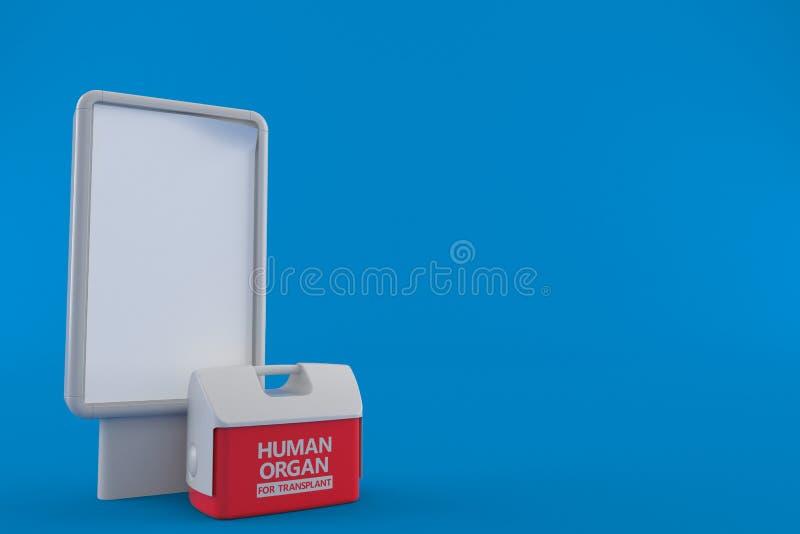 Refrigerador para el órgano humano con la cartelera en blanco ilustración del vector