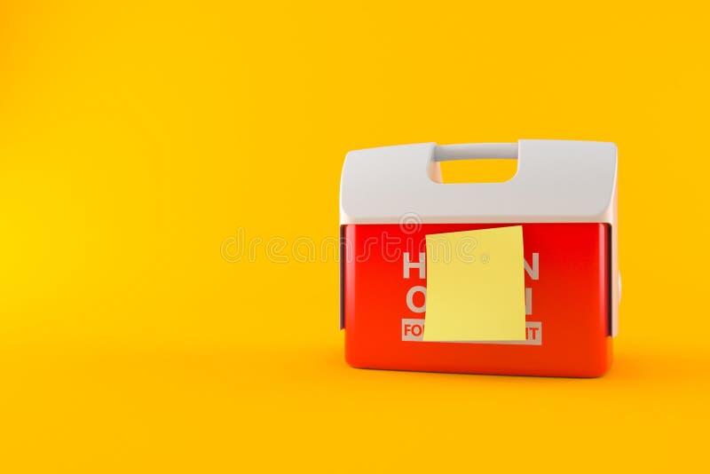 Refrigerador para el órgano humano con la etiqueta engomada amarilla en blanco ilustración del vector