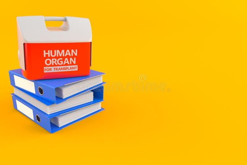 Refrigerador para el órgano humano con las carpetas de anillo ilustración del vector