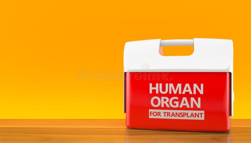Refrigerador para el órgano humano en fondo anaranjado stock de ilustración